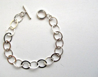 12mm Oval Charm Bracelet with Toggle Clasp Hammered Sterling Silver