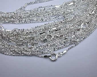 10 pcs Sterling Silver Diamond Cut Ball Chains 32 inch 1.2mm with Spring Clasps
