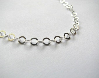 Sterling Silver 4mm Flat Cable Link Chain Necklace 28 inch