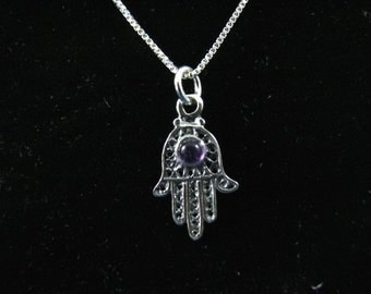 Sterling Silver Hamsa Hand Pendant with Amethyst Necklace