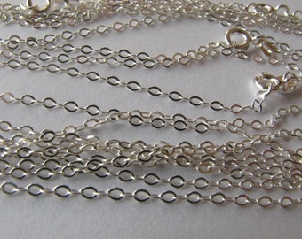 6 Sterling Silver 16.5 inch Flat Cable Chains with Clasps
