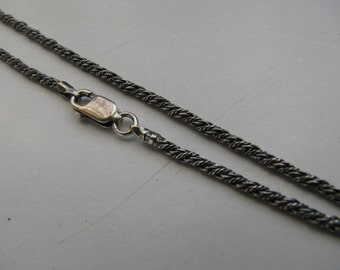 30 inch Rope Chain Antique Oxidized  2mm Sterling Silver Necklace