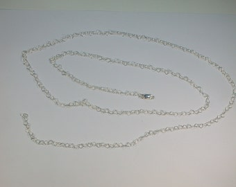 Sterling Silver Heart Links 24 inch Cable Chain Necklace