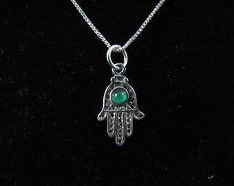 Sterling Silver Hamsa Hand & Green Agate Charm Necklace