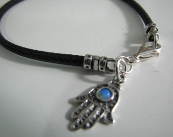 Genuine Black Leather Bracelet with Opal Hamsa Charm