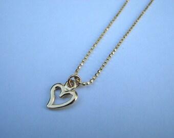 Delicate Gold Heart Pendant Necklace