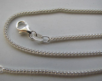 24 inch Sterling Silver 3mm Popcorn Chain Necklace with Lobster Clasp, suitable for all types of charms, pendants and beads