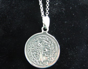 Tree of Life Necklace Sterling Silver Pendant and 26 inch Rolo Chain, Unisex