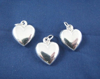 3 pcs Sterling Silver Puffed Heart Charm Pendants 18mm