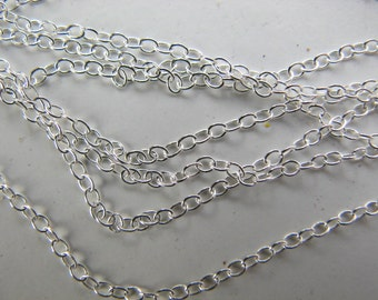 15 Sterling Silver 16 1/2 inch Cable Chains 1X1.5 mm Links
