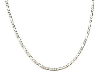 20 inch Sterling Silver 2mm Figaro Chain Necklace with Lobster Clasp