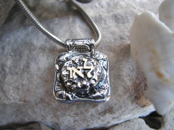 Kabbalah Necklace for Positivity, Healing, Protection - Sterling Silver and 14K Gold