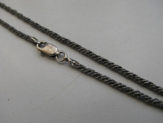 Sterling Silver Antique Oxidized 2mm Rope Chain Necklace 22 inch