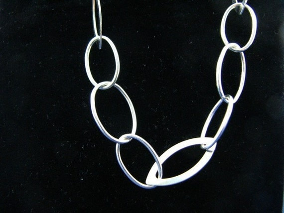 24 inch Sterling Silver Large Oval Multi Links Cable Necklace
