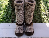 Crochet Boots with Mohair Trim  CLEARANCE