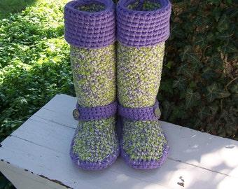 Crochet Boots, Girls Size 5, CLEARANCE