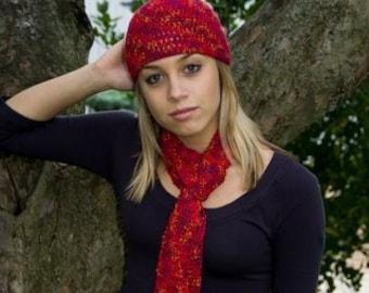 Hat and Skinny Scarf, Raspberry, Cottony Soft