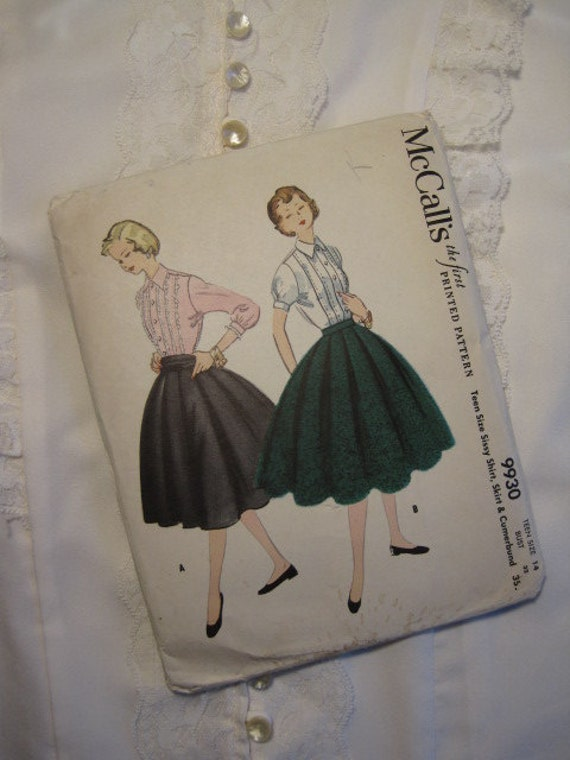 SALE: A vintage 50s McCall's Sewing Pattern, Blouse & Skirt UNCUT Teen 14