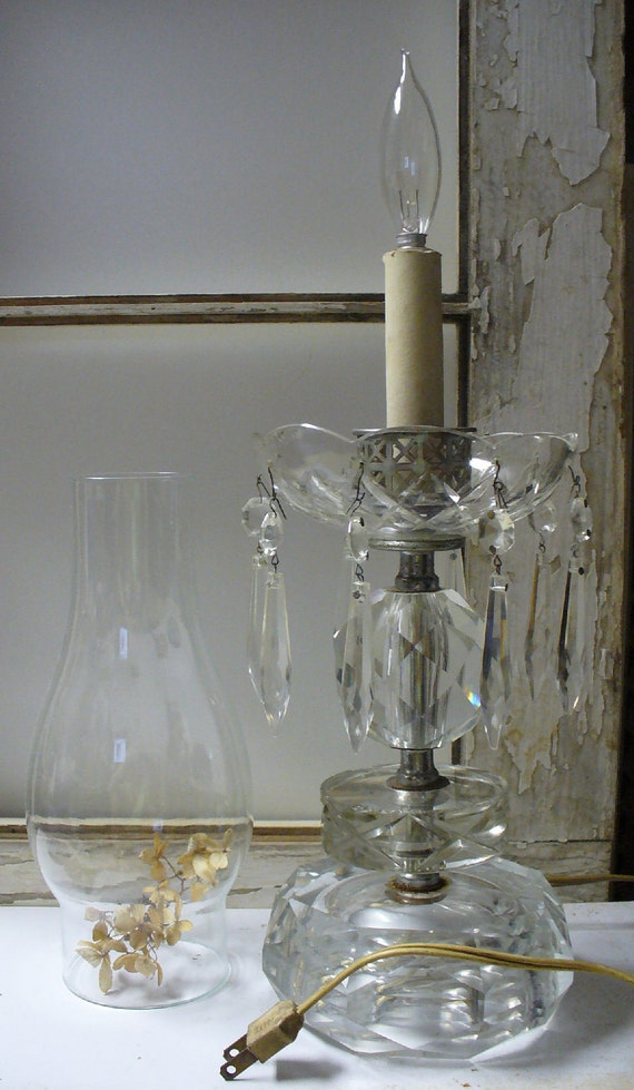 Antique Crystal Electric Candle Lamp with Crystal Prisms