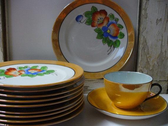 Vintage Set of 10 Lusterware Plates