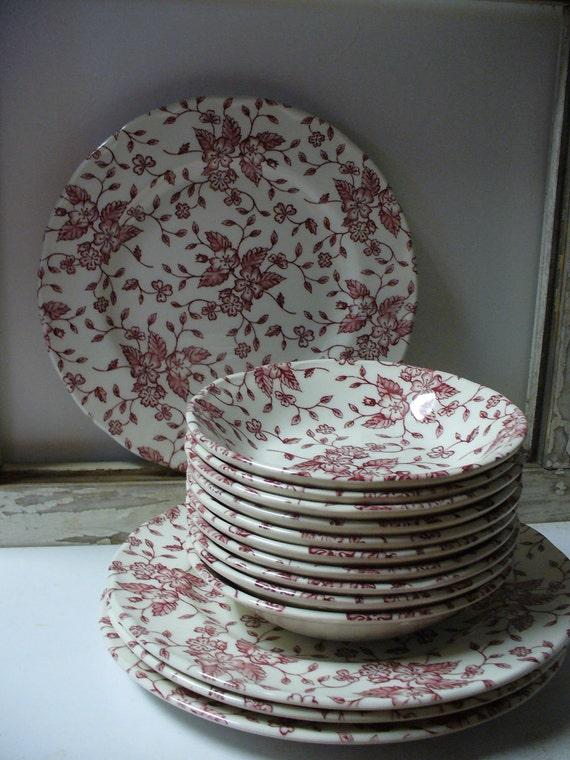 Grindley Tudor Rose Bouquet Transferware 4 Dessert Plates and 10 Berry Bowls