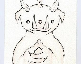 original illustration - listening monster