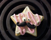Moustached Cookie---Polymer Clay Magnet