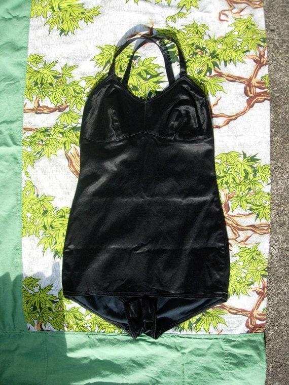 40's black satin swim suit, XS, S.
