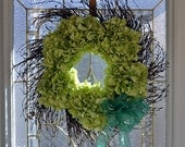 Preppy Lime Green Silk HYDRANGEA Wall Door Wreath Swirl Birch Twig Base