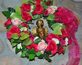 Valentine Silk Wall Door Wreath  Over 24 Red Pink Roses Gilded Cherub Cupid