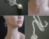 Reserved for JESSICA- Bridal earrings & Pendant necklace, wedding jewelry, bridal jewelry