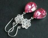 Pink Bridal earrings, Crystal earrings, Swarovski jewelry