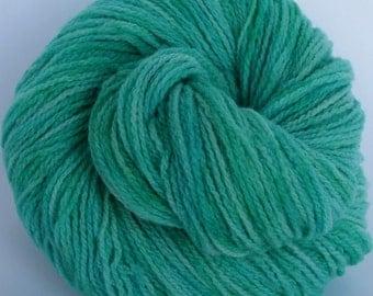 Hand dyed Merino wool yarn green blue aqua yarn - 200 yards - Seafoam