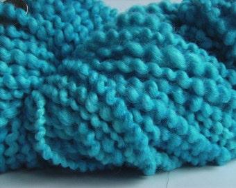 Hand dyed yarn thick and thin yarn coil spun yarn bulky yarn wool yarn sky blue aqua - 40 yards - Cerulean