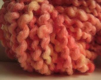 Hand dyed yarn thick and thin yarn coil spun yarn bulky yarn wool yarn peach pink rose cream yellow - 42 yards - Strawberry Lemonade