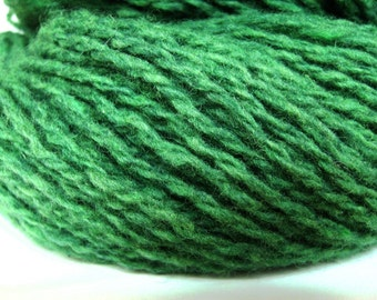 Wool and nylon recycled upcycled thrifted reclaimed green two-ply yarn - 200 yards - Kelly
