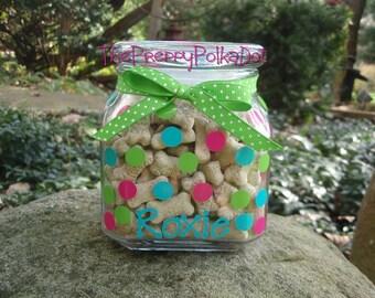 Personalized Polka Dot Dog Treat Jar