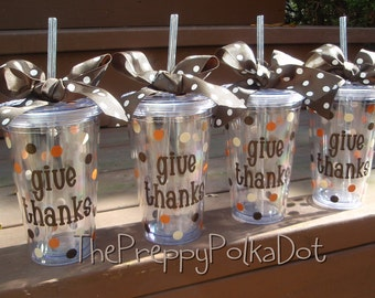 Personalized GIVE THANKS Thanksgiving Tumbler Cup with Lid & Straw 16oz