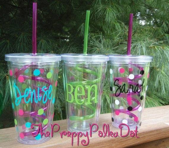 Personalized 16oz Crazy Swirly Straw Tumbler Cups With Lid