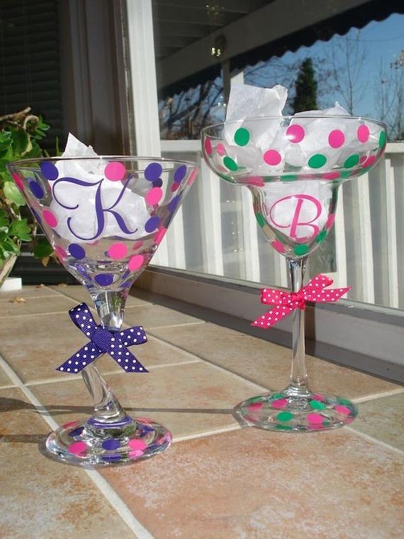 Personalized Preppy Polka Dot Wine Glass Bridesmaid Wedding