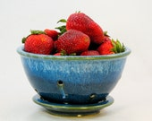 Berry bowl colander strainer stoneware clay cream blue wheel thrown hughes pottery