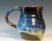 Coffee mug stoneware ceramic tea cup glazed in brown blue cream handmade by hughes pottery