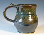 Coffee mug stoneware cup ceramic tea, glazed in gray bronze green, handmade by hughes pottery
