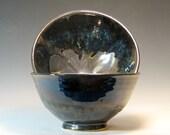 Serving bowl set ceramic holiday buffet, display home decor housewarming stoneware, glazed in metallic gray blue, handmade by hughes pottery