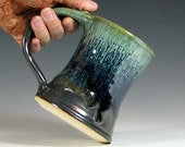 Beer tankard stein, coffee mug cup ceramic, glazed in gunmetal gray green moss, handmade by hughes pottery
