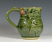 Coffee mug ceramic, tea cup oak leaf acorn, fall autumn halloween decor, glazed in green, handmade stoneware by hughes pottery