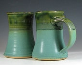 SALE Coffee mug tumbler set of two, beer tankard stein cup ceramic, glazed in green and seafoam, handmade by hughes pottery
