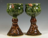 Wine goblet ceramic, oak leaf acorn chalice, wedding toasting set, caramel brown and green, handmade by hughes pottery