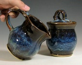 Cream and sugar set, ceramic creamer, sugar bowl jar lidded, glazed in brown blue and cream, handmade stoneware by hughes pottery