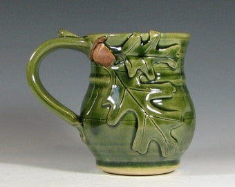 Coffee mug ceramic, tea cup oak leaf acorn, fall autumn halloween decor, glazed in green, handmade stoneware by hughes pottery